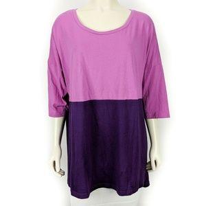 LOGO Lori Goldstein Pink Purple Color Block Short